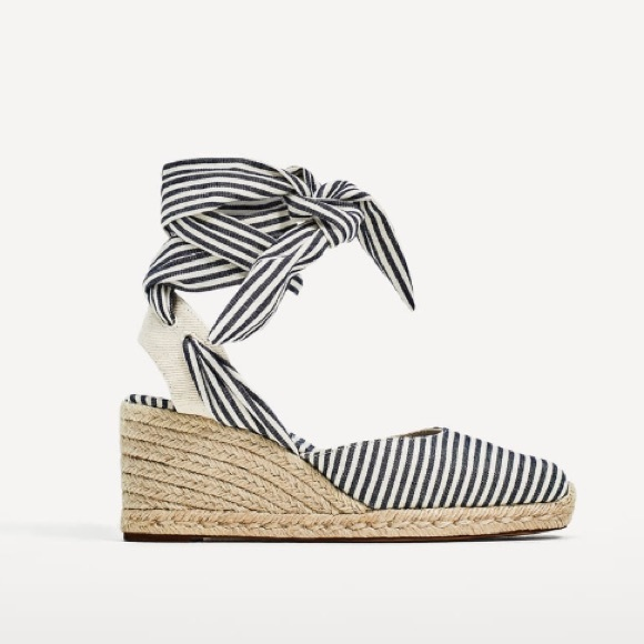 e0bf303931a Zara wedges with striped ties NWT